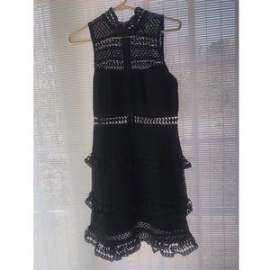 Lulu's black crochet detailed cocktail dress